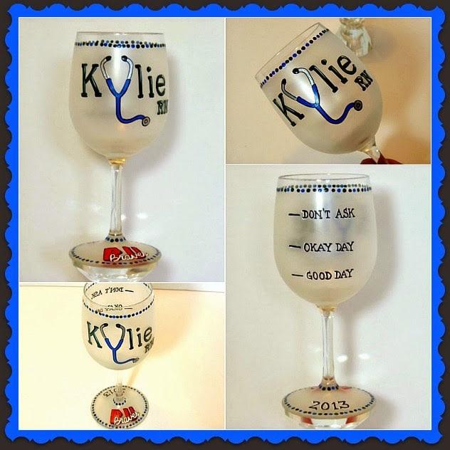 RN Custom Painted Wine Glass - Kudos Kitchen by Renee