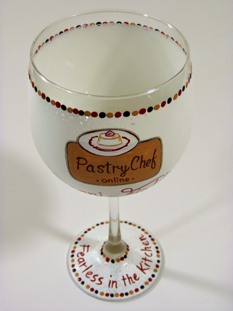Food Blogger hand painted wine glass - www.kudoskitchenbyrenee.wazala.com