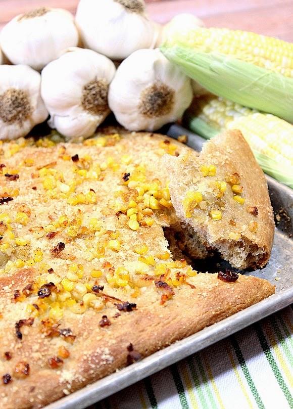 Garlic Focaccia with Sweet Corn