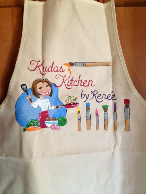 Kudos Kitchen by Renee custom painted food blogger apron.