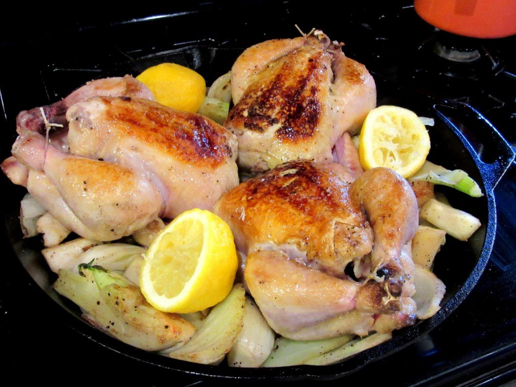 Skillet Roasted Cornish Hens with lemon and fennel