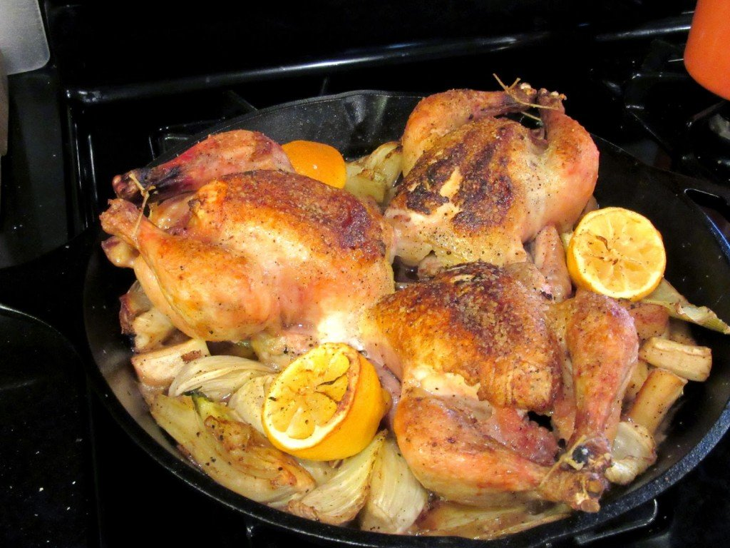 Skillet Roasted Cornish Hens with Parsnips Fennel