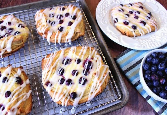 Blueberry Cheese Danish Recipe with Homemade Pastry - kudoskitchenbyrenee.com