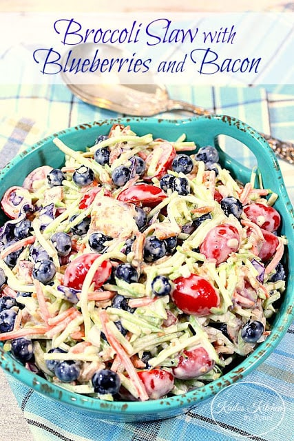 Broccoli Slaw with Blueberries and Bacon