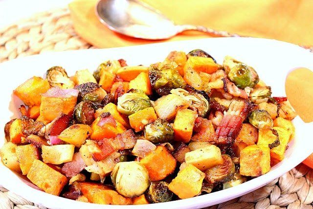Sweet and Savory Roasted Sweet Potatoes, Brussels Sprouts and Apples