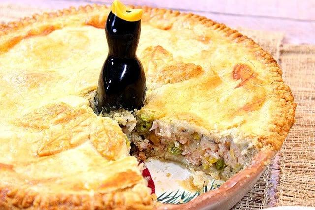 Homestyle Pork Pot Pie with a pie bird - kudoskitchenbyrenee.com