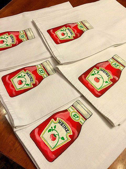 Hand Painted Ketchup Tea Towels
