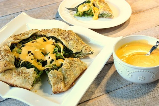 Roasted Broccoli Crostata with Cheese Sauce