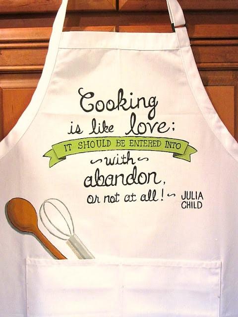 Julia Child Quote hand painted apron - kudoskitchenbyrenee.com