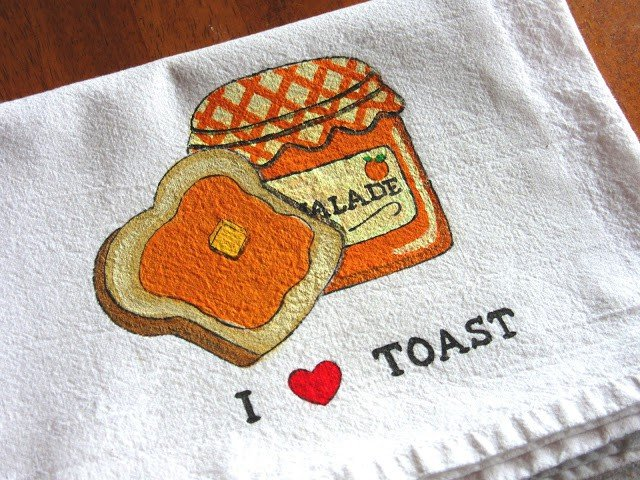 Orange Marmalade and Toast Painted Tea Towel - www.kudoskitchenbyrenee.com