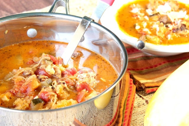 Spaghetti Squash Soup with Italian sausage, tomatoes, and zucchini. - kudoskitchenbyrenee.com