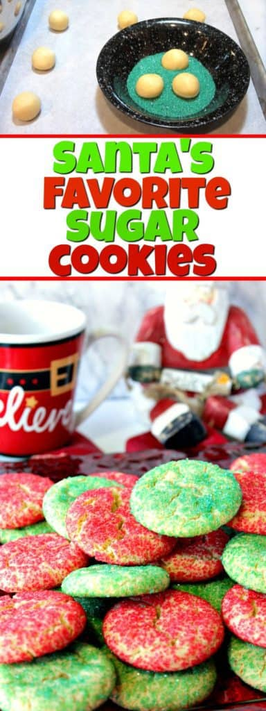 Vertical title text collage image of Santa's Favorite Sugar Cookies.