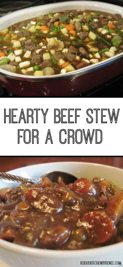 A vertical collage image of beef stew for a crowd with a title text overlay graphic