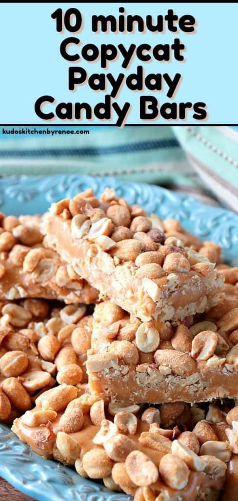 Long title image of Copycat Payday Candy Bars - kudoskitchenbyrenee.com