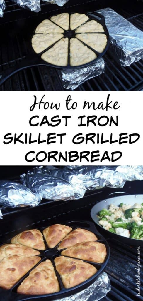 Vertical title text photo collage of cast iron cornbread cooking on a grill