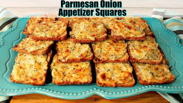 Parmesan Onion Appetizer Squares on a blue plate