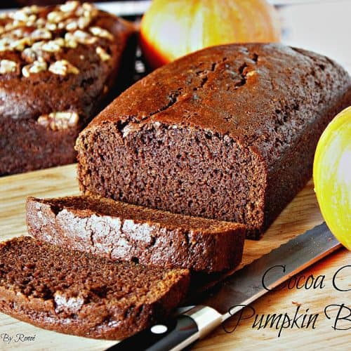 Cocoa Clove Pumpkin Bread Recipe is a dark chocolate bread with the flavors of clove and seasonal pumpkin. - kudoskitchenbyrenee.com
