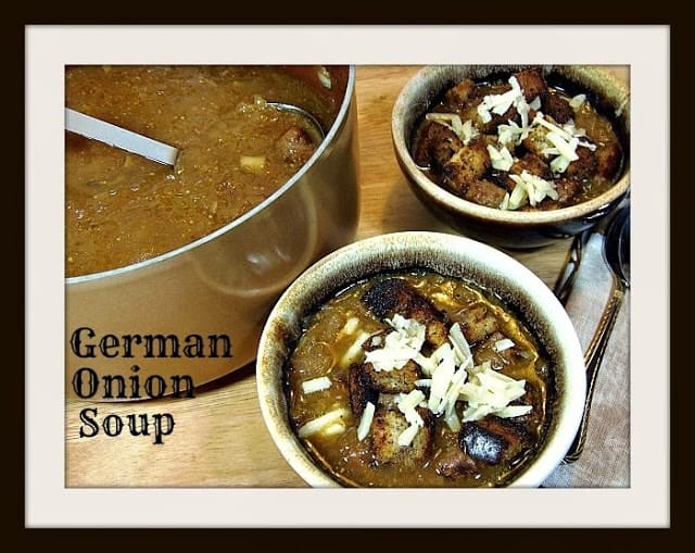 German Onion Soup with Rye Bread Croutons