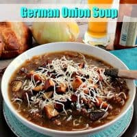 German Onion Soup with Beer, Bratwurst & Pretzel Roll Croutons