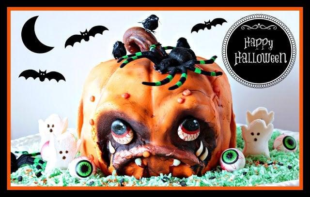 Scary Pumpkin Face Cake
