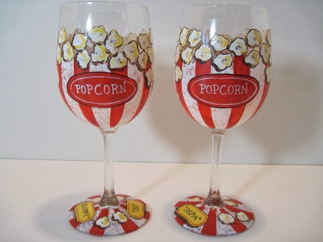 Hand Painted Popcorn Wine Glasses