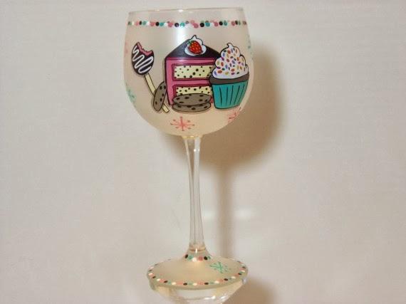 cake and cupcake painted wine glass