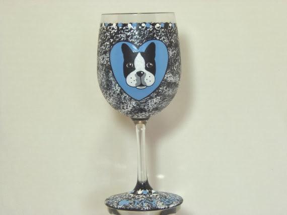 Boston terrier painted wine glass