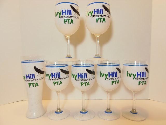 School PTA logo wine glasses