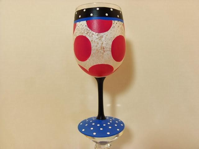polka dot painted wine glass