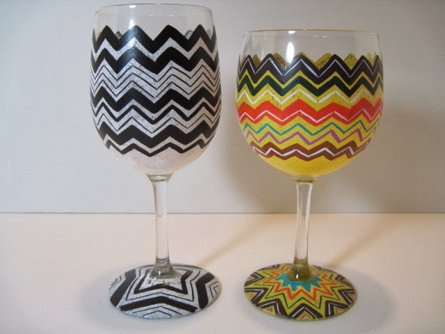 chevron painted wine glasses