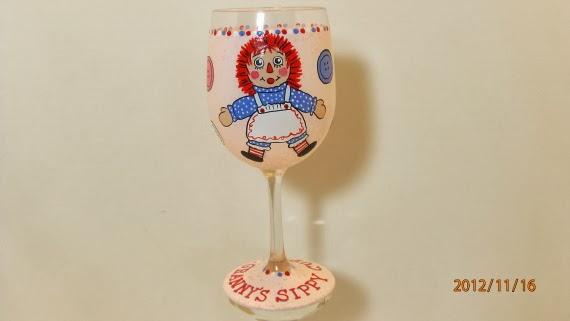 Raggedy Ann Wine Glass
