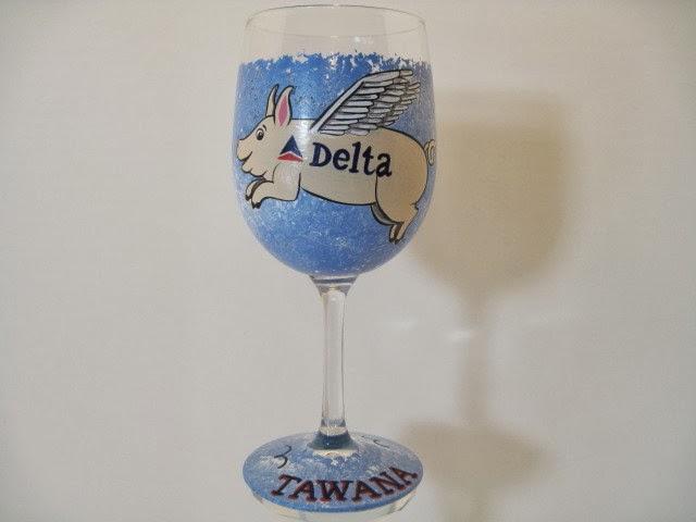 flying pig wine glass