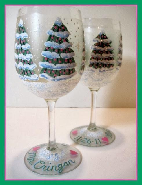 Christmas Tree Wedding Wine glasses