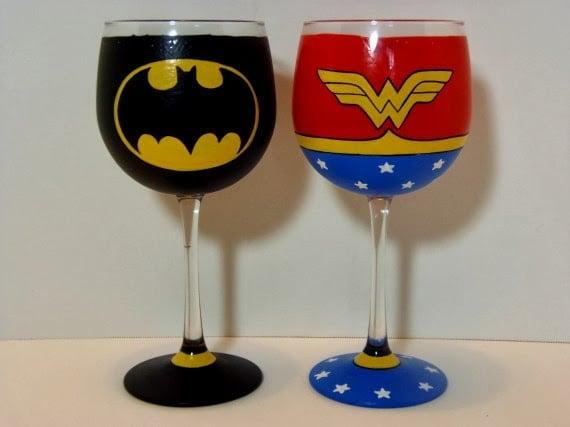 Batman and Wonder Woman painted wine glasses