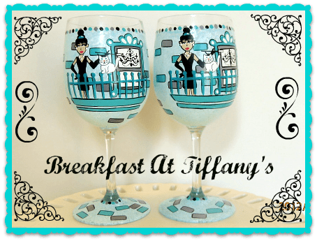 breakfast at Tiffanys painted wine glass