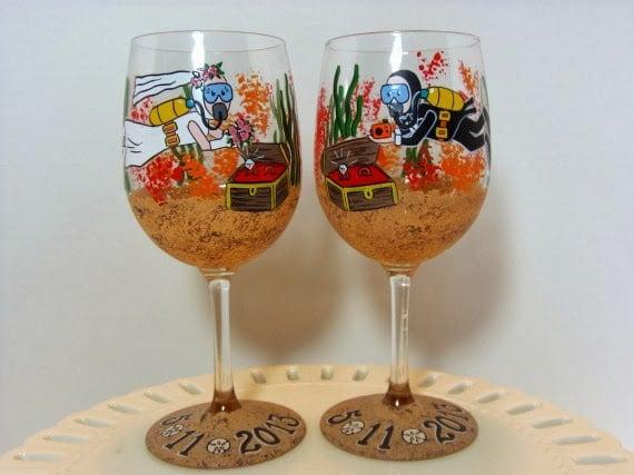 scuba diver wine glasses