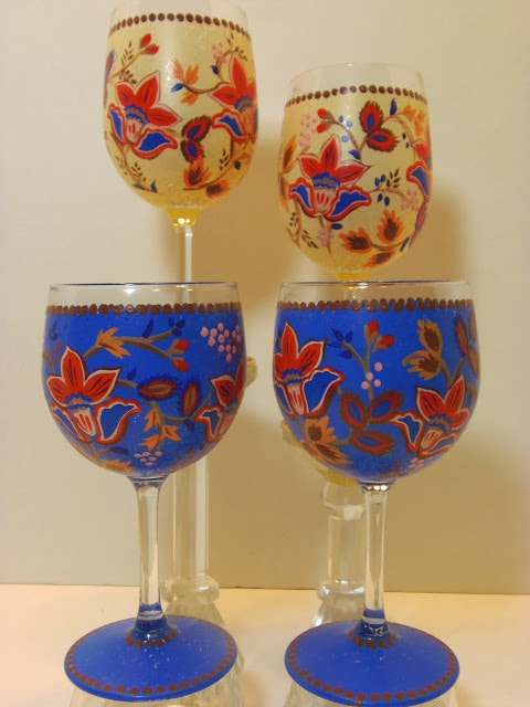 tapestry painted wine glasses