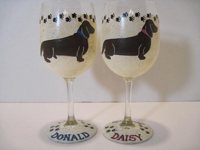 dachshunds wine glasses