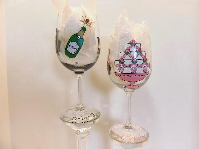 custom painted wedding wine glasses