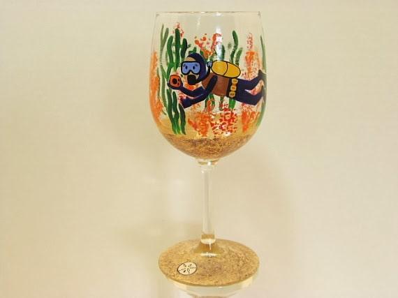 scuba diver wine glass