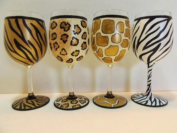 animal print wine glasses