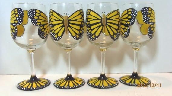 monarch butterfly wine glasses