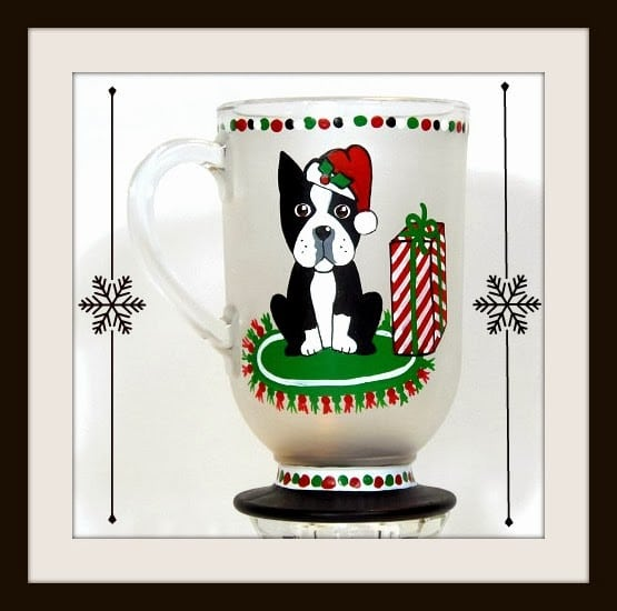 Boston Terrier Christmas coffee mug