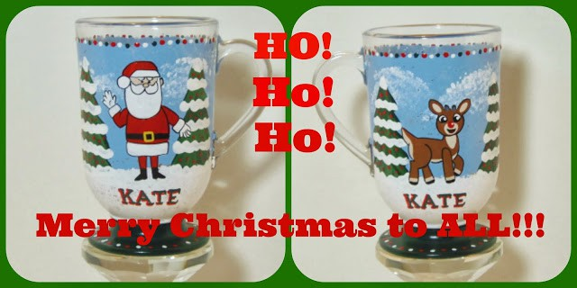 Santa and Rudolph personalized painted coffee mug