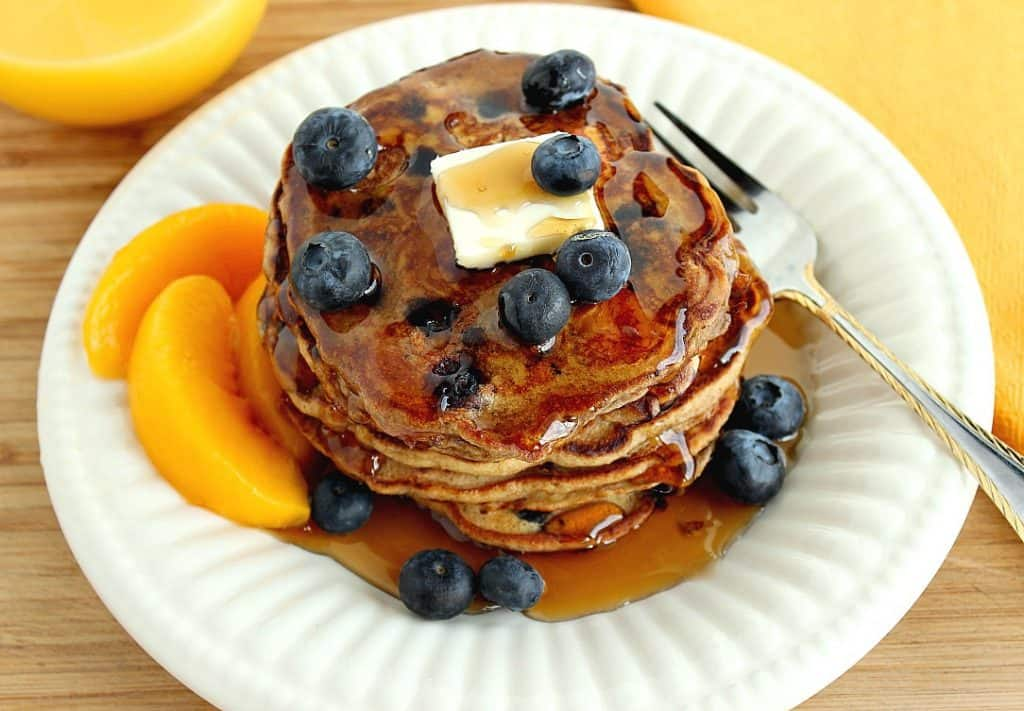 Good for you Blueberry Peach Pancakes