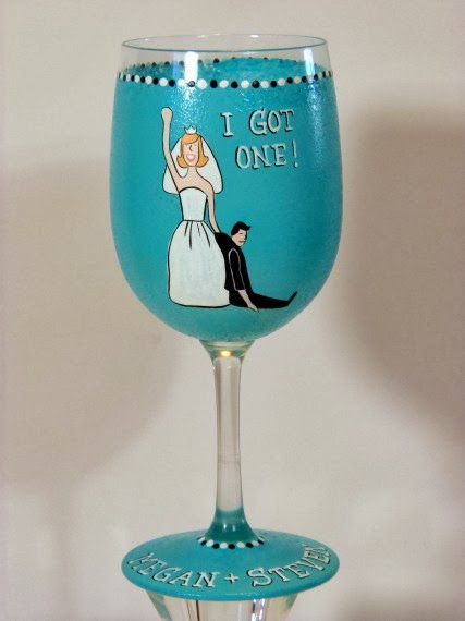 I GOT ONE painted engagement wine glass