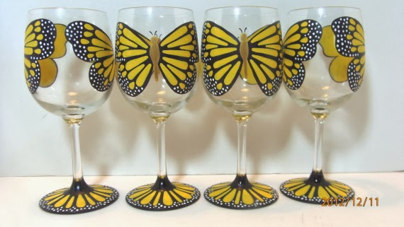 Kudos Kitchen By Renee - Yellow Monarch wine glasses