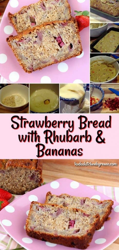 When strawberries and rhubarb are in season, this Super Easy Strawberry Bread with Rhubarb & Banana should be one of the first things you add to your baking list. - kudoskitchenbyrenee.com