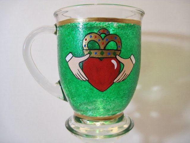 Irish Claddagh painted coffee mug