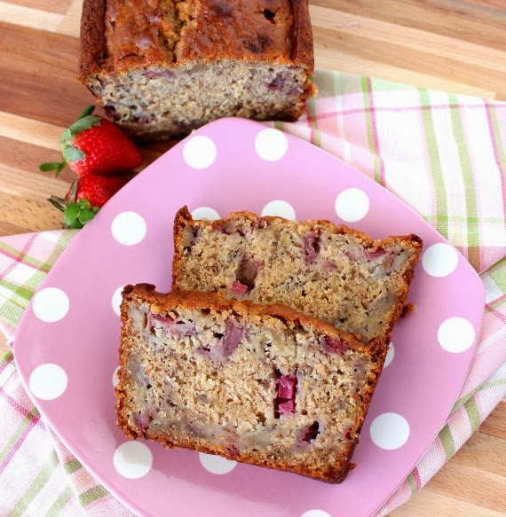 Strawberry Bread with Rhubarb and Bananas Recipe - kudoskitchenbyrenee.com